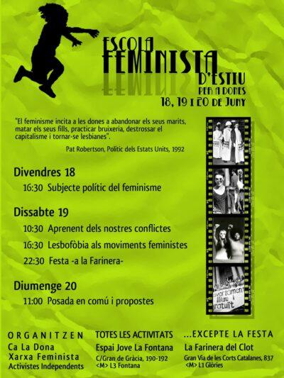 Escola Feminista d'Estiu  18, 19 i 20 de juny a l'Espai Jove la Fontana