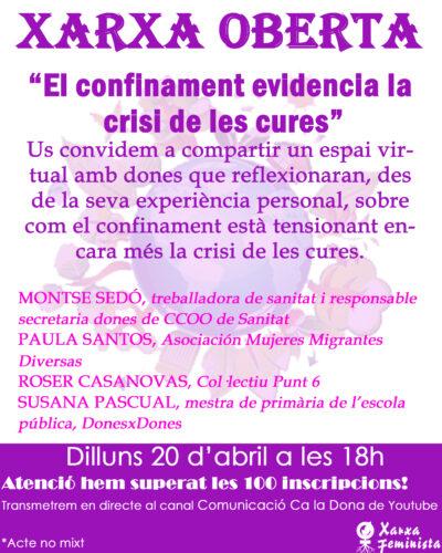 """XARXA OBERTA """"El confinament evidencia la crisi de les cures"""""""